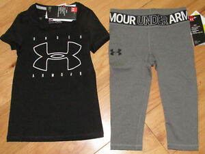 Under Armour fitted big logo shirt /& gray capri crop leggings NWT girls/' XS YXS