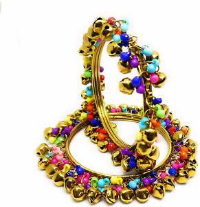 ba b4033 Indian Bollywood Designer Partywear Jewelry Purple Beads Ghungroo Bangles Set