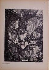 Antico PIRANESI CARCERI immaginario stampa Carceri d'invenzi oltre 100 anni