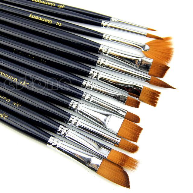 12 x Nylon Hair Artist Watercolour Acrylic Oil Painting Paint Brush Set Supply