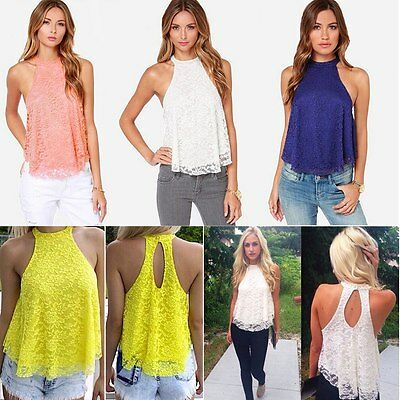 Fashion Women Sleeveless Lace Floral Sexy Backless Casual Loose Shirt Top Blouse