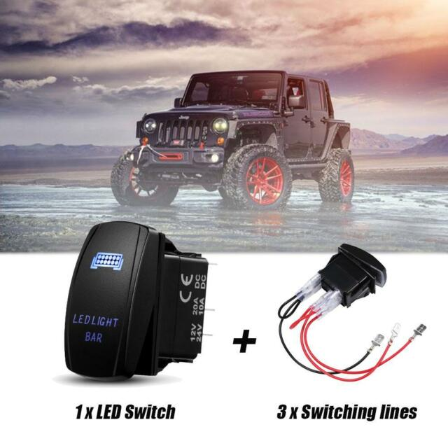 Boats Buses Trailers Auxbeam LED Light Bar Rocker Switch with Switching Lines for 12 // 24V Cars Motorcycles RVs