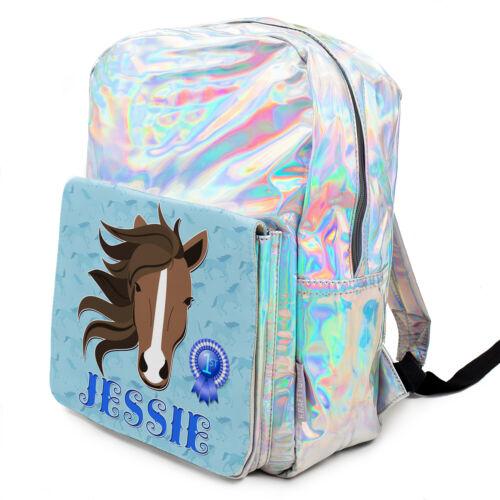 Horse School Bag Girls Pony Backpack Shiny Silver Bag PERSONALISED KS238