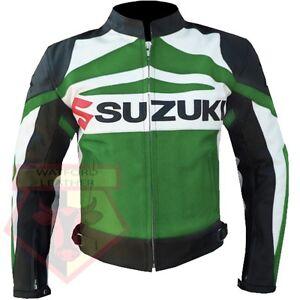 SUZUKI-GSX-MOTORBIKE-COWHIDE-LEATHER-ARMOURED-MOTORCYCLE-GREEN-LEATHER-JACKET