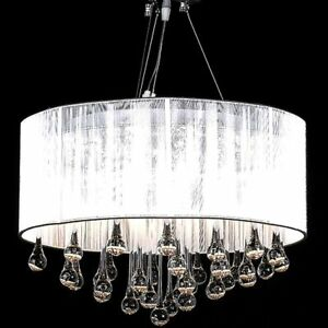 Image Is Loading White Drum Pendant Light Shade Crystal Ceiling Lamp
