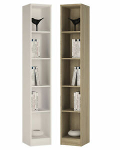 Crescita-TALL-Narrow-Bookcase-in-Oak-or-White-Living-Display-Cabinet-Bedroom-BIG