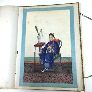 ANTIQUE ALBUM CHINESE CHINA QING 20 BIG WATERCOLOR PAINTING PITH RICE PAPER 1850