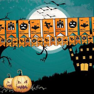 8pcs-Halloween-Drapeau-4Pattern-Sorciere-Citrouille-Chauve-Souris-Chateau-Party