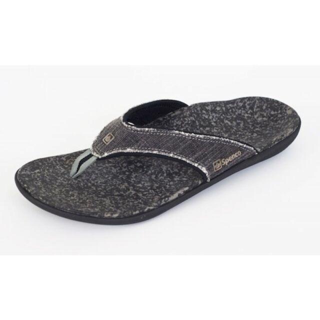 Men/'s Spenco Total Support Orthotic Flip Flops Sandals Canvas Grey Sz 9