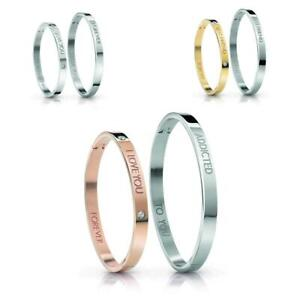 BOX-2-Bracciali-Rigidi-GUESS-LOVERS-BANGLE-Lui-amp-Lei-Acciaio-I-LOVE-YOU