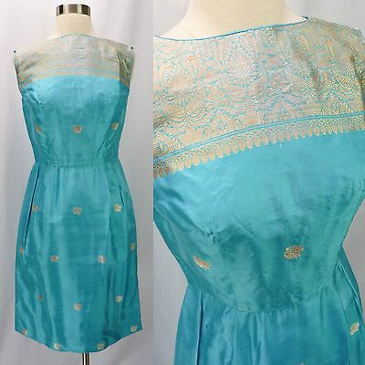 Vintage 60s Turquoise & Gold Silk Asian Ethnic Embroidered Jacquard Mini Dress S