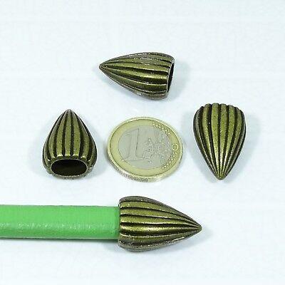 13 Abalorios Para Cuero Regaliz 15x11mm T362A Cobre Leather Copper Beads Pelle