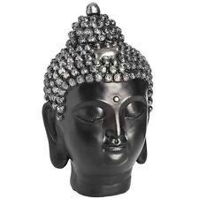 Dark Buddha Head Ornament - Ethnic Scultpture Art Home Interior Décor Accessory
