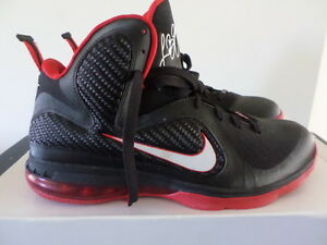 Image is loading NIKE-LEBRON-9-IX-Black-White-Sport-Red-