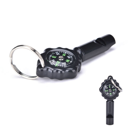 Black Mini Survival Tool Whistle Compass 2 in1 new hot sellingB$