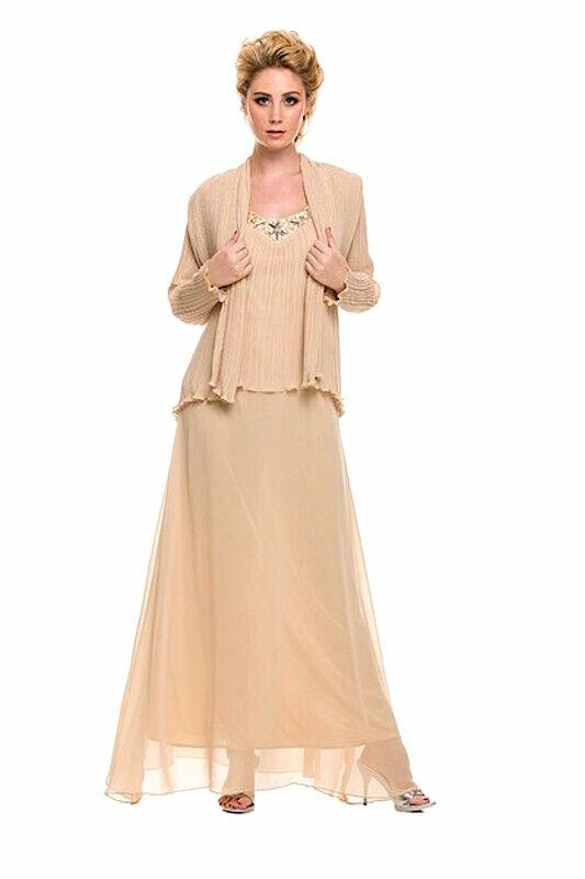 Robe de soirée hochzeitsgast vintage mariée mère robe corvée avec veste or T 40