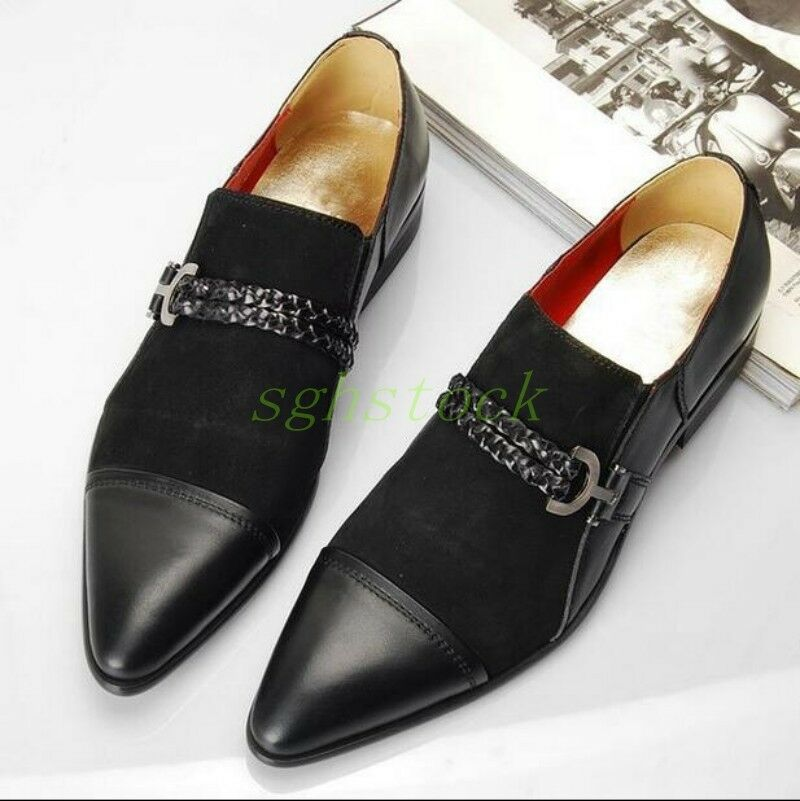 Mens Vintage Genuine Leather Chain Pointy Toe Slip On Dress Formal Loafers shoes