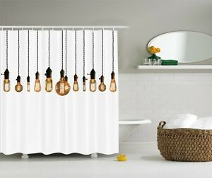 Image Is Loading Antique Edison Bulb Graphic Shower Curtain Retro Industrial