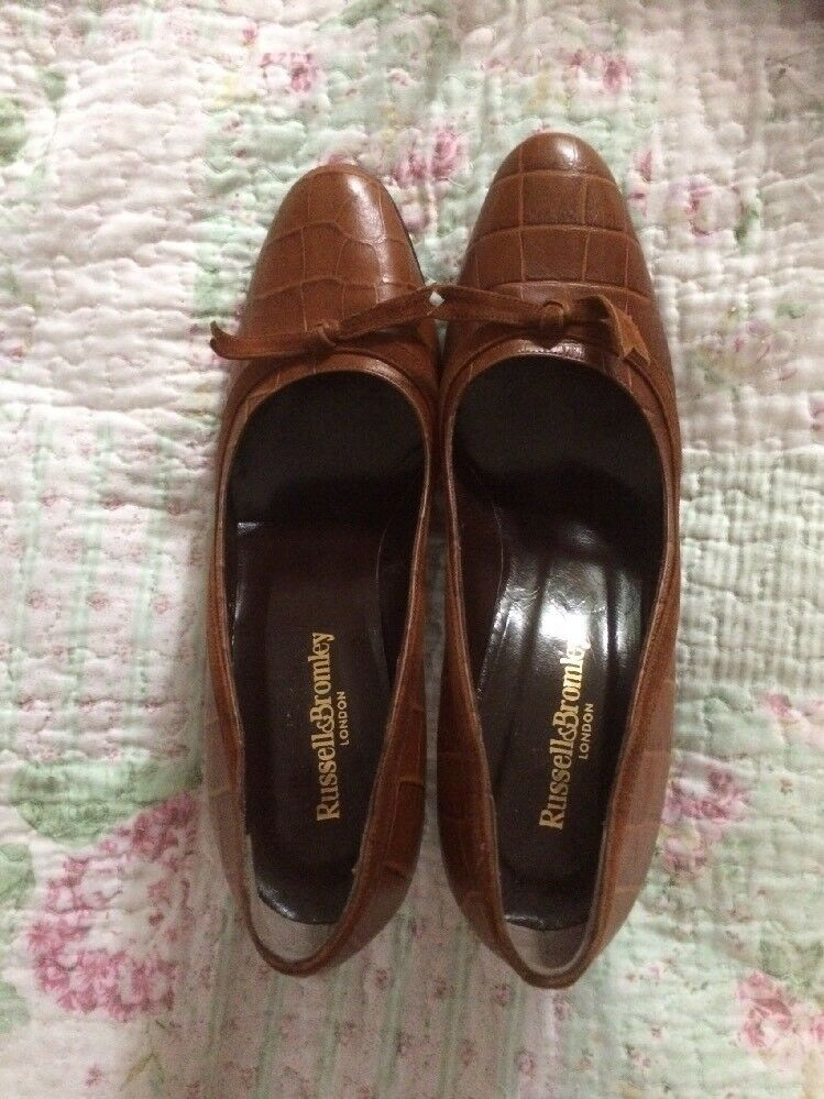 Descuento de liquidación 245! RUSSELL&BROMLEY brown Moc Crock Leather Court Shoes-size 7 Tried Once