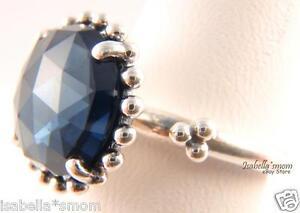 Midnight Star Genuine Pandora Ring Silver Dark Navy Blue