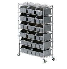NEW Commercial Rolling Shelving 7 Shelf Rack Storage Parts Bin Organizer  Bins