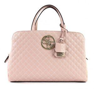 b6a998ee23559 Das Bild wird geladen GUESS-Gioia-Girlfriend-Satchel-Handtasche- Umhaengetasche-Tasche-Rosa-