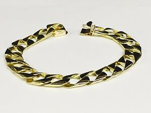 14kt-solid-Yellow-Gold-Handmade-Curb-Link-Mens-Bracelet-8-5-034-28-Grams-11MM