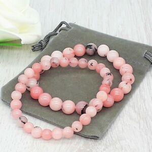 Handmade Natural Cherry Blossom Jasper Gemstone Stretch Bracelet & Velvet Pouch.