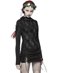 Punk-Rave-Womens-Dieselpunk-Hoodie-Top-Black-Goth-Dystopian-Apocalyptic-Hooded