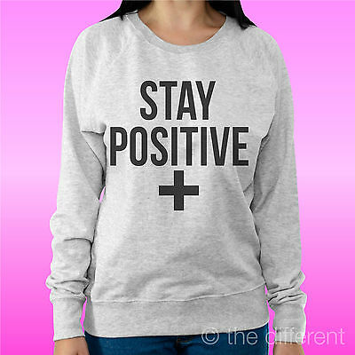 "Felpa Donna Leggera Sweater Grigio Chiaro "" Stay Positive "" Road To Happiness"