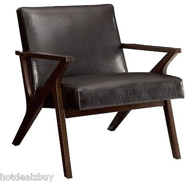 Miraculous Leather Accent Chair Living Room Furniture Seat Wood Arm Midcentury Modern Guest Ebay Beatyapartments Chair Design Images Beatyapartmentscom