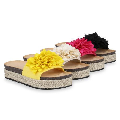 Damen Sandaletten Plateau Pantoletten Strandschuhe Schlappen Blume 826389 Schuhe
