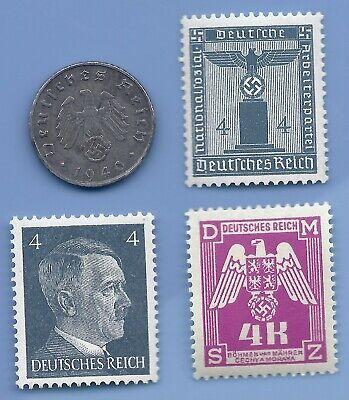 WW2 GENUINE GERMAN NAZI 3rd REICH ERA SET OF 5 MINT STAMPS HITLER SWASTIKA MNH