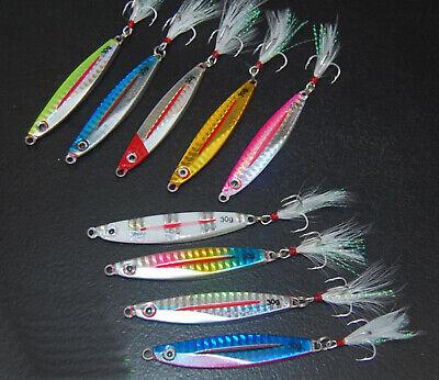 5PCS Deep Sea Fishing Lure Jigging Slow Jig Sinking Feather Spoon Baits 160//200G