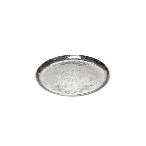 Serviertablett rund aus Aluminium Orientalisch Tablett Kerzentablett Dekoration