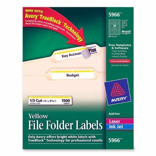 Avery Filing Labels - 0.66  Width X 3.43  Length - 1500   Box - Rectangle -