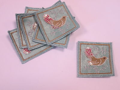 Set of 10 Handmade Christmas Card Embroidered To a Wonderful Mum and Dad #8F43