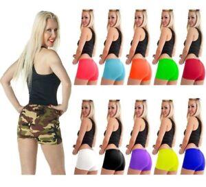 Womens-Stretch-Elasticated-Plain-Hot-Pants-Shorts-Ladies-Girls-Dance-Gym-Shorts