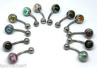 1X Logo Belly Navel Button Bars Rings Ring Bar Body Piercing 1.6mm x 10mm x 5/8m