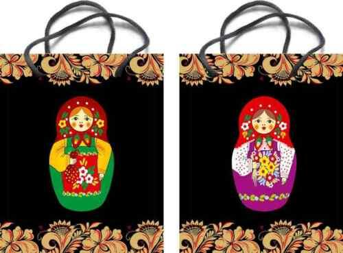 "Russian Bags Kraft Paper Gift Bag With Handles /""Matryoshka/"" Black"