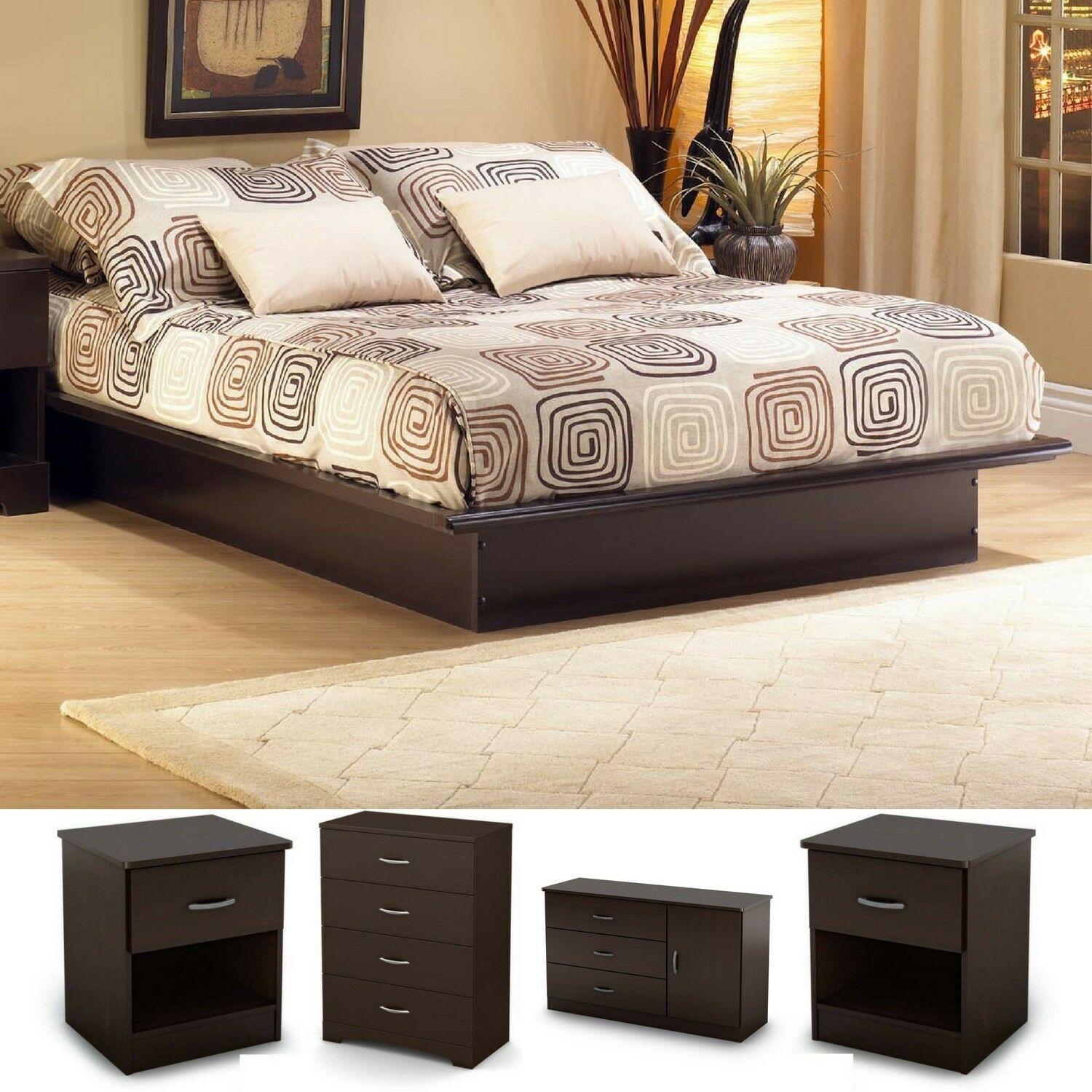 5 Pieces Bedroom Set Queen Size Modern Furniture Platform Bed Chest Dresser  Wood