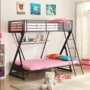 ACME 37136 Zazie Sandy Black Twin Futon Metal Bunk Bed Bookshelf
