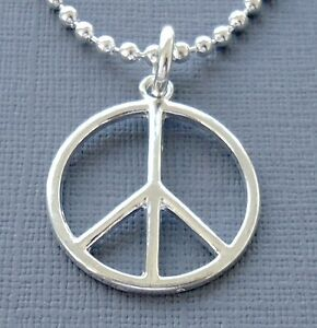 Mens Womens Silver Plated Pendant Necklace Peace Sign