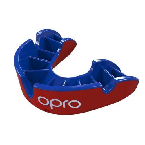 Opro Paradenti Gen4 Argento di livello Rosso Blu Scudo Di Gomma Boxe Rugby-Free caso