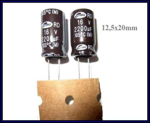 Elko Kondensator Elektrolyt 2200µF 16V 12,5x20 ra5 105° 2 Stück