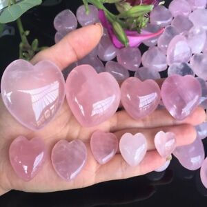 Details about 1 Pc Natural Rose Quartz Heart Shaped Crystal Carved Palm  Love Healing Gemstones