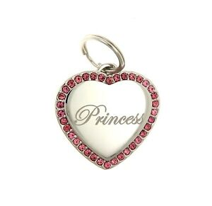 Custom-Engraved-Personalized-Stainless-Heart-Pink-CZ-Stones-Dog-Tag-Pet-ID-Name
