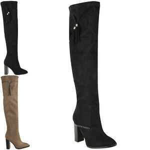 3bb6d9b1095 Details about WOMENS LADIES THIGH HIGH BOOTS OVER THE KNEE BLOCK HEELS  TASSEL STRETCH NEW SIZE
