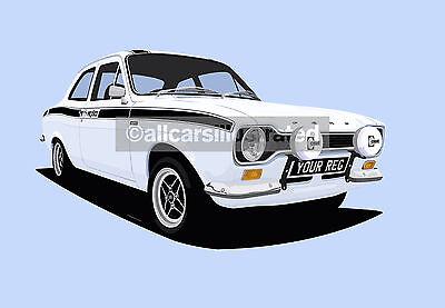 High quality A4 Print Mexico MK1 Ford Escort Poster classic car wall Art