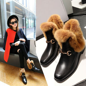 Winter Warm Womens Real Leather Fur Shoes Ankle Boots Pull On Square Toe Flat